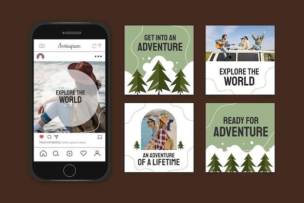 Collection détaillée de publications instagram d'aventure avec photo