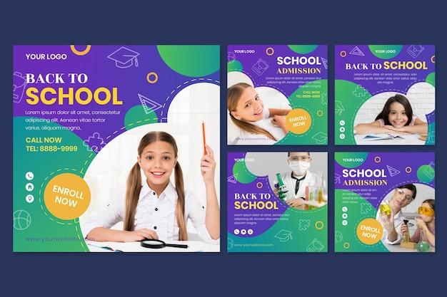 Collection détaillée de publications instagram de retour à l'école avec photo