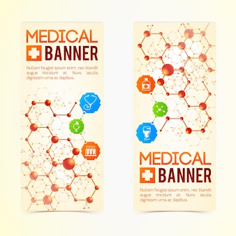Collection de deux bannières médicales verticales avec symboles et signes, capsules médicinales et structures atomiques