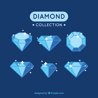 Collection de diamants brillants dans des tons bleu