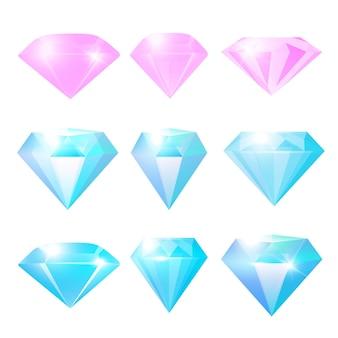 Collection de diamants brillants ou pierres de verre pour bijouterie ou game design