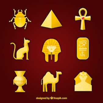 Collection de dieux et de symboles égyptiens avec un design plat