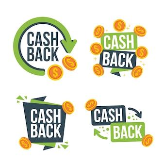 Collection de différentes étiquettes de cashback