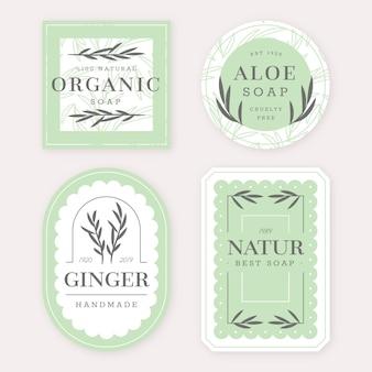 Collection de différentes étiquettes de savon