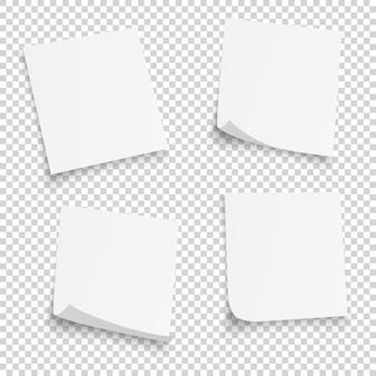 Collection de différentes feuilles blanches. papiers note avec coin recourbé isolé sur fond transparent.