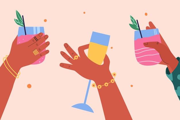 Collection de différentes mains avec différents cocktails