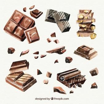 Collection de différentes pièces de chocolat dessinés à la main