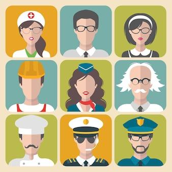 Collection de différentes professions