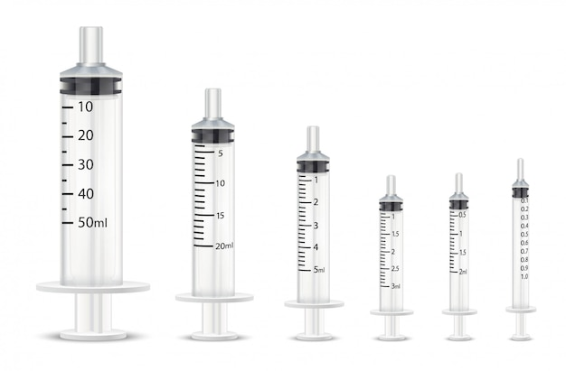 Collection de différentes seringues médicales pour vaccins.