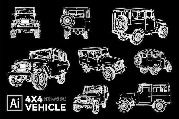 Collection de différentes vues de silhouettes de voitures 4x4 classiques. dessins à effet de marqueur.