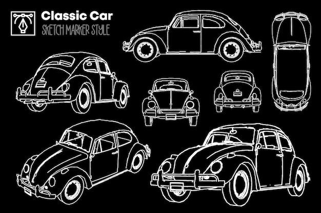 Collection de différentes vues de silhouettes de voitures classiques. dessins à effet de marqueur.