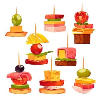 Collection de différents apéritifs délicieux
