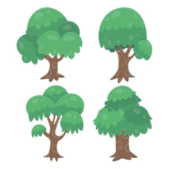 Collection de différents arbres de design plat