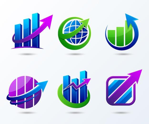 Collection de différents autocollants de croissance d'entreprise