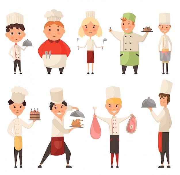 Collection de différents chefs cuisiniers. enfant dans un chapeau de cuisinier tenant un plat avec de la nourriture. caractère enfant chef profession, serveur et boulanger, illustration de confiseur