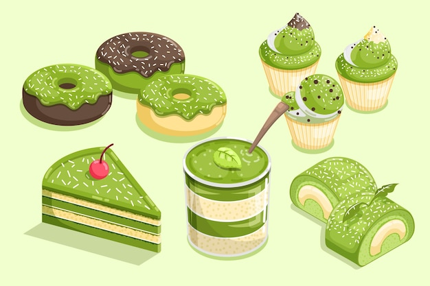 Collection de différents desserts au matcha