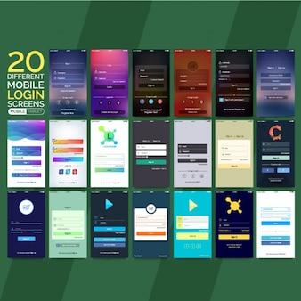 Collection de différents écrans de connexion mobiles