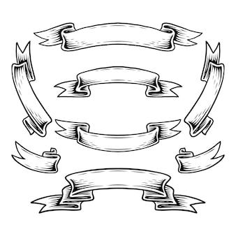 Collection de différents éléments de conception de vecteur de jeu de rubans vintage