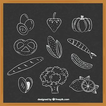 Collection de différents éléments de nourriture dans le style de craie