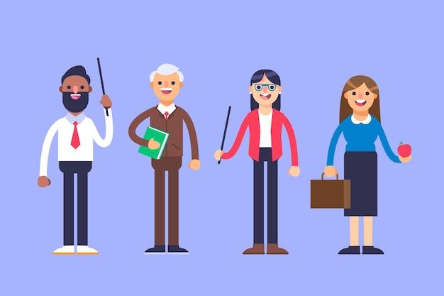 Collection de différents enseignants avec des outils