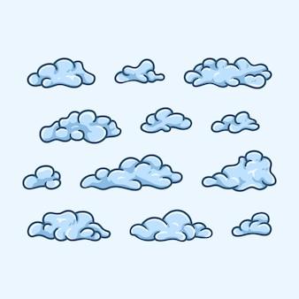 Collection de différents nuages de dessins animés