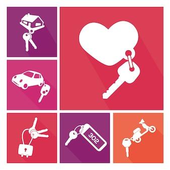 Collection différents porte-clés