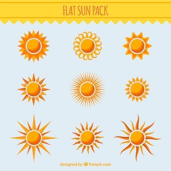 Collection de différents soleils