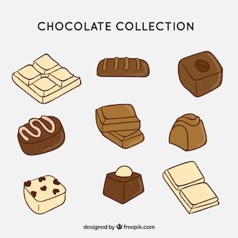 Collection de différents types de chocolat