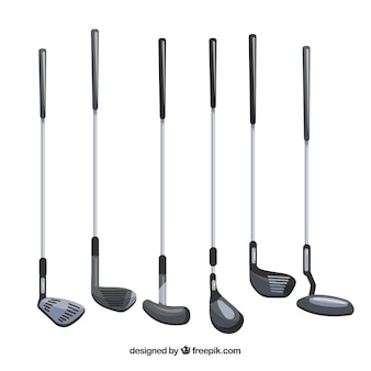 Collection de différents types de clubs de golf