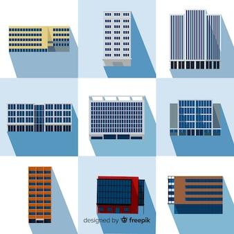 Collection de différents types d'immeubles de bureaux