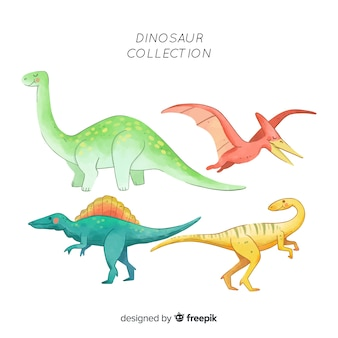 Collection de dinosaures à l'aquarelle