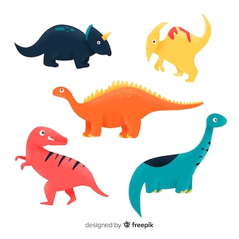 Collection de dinosaures colorés dessinés à la main