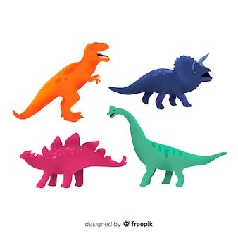 Collection de dinosaures colorés dessinés à la main