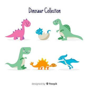 Collection de dinosaures dessinés à la main mignonne