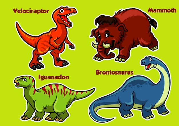 Collection de dinosaures de dessins animés