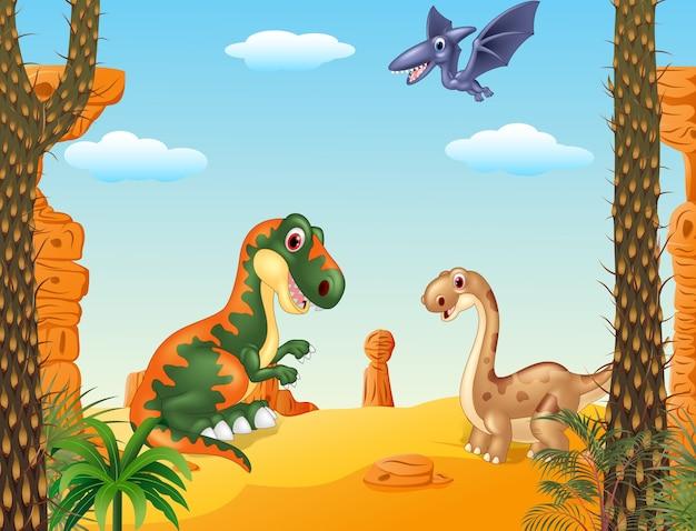 Collection de dinosaures heureux cartoon