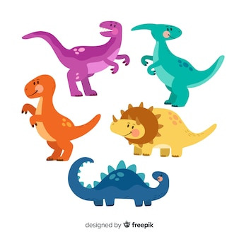 Collection de dinosaures plats