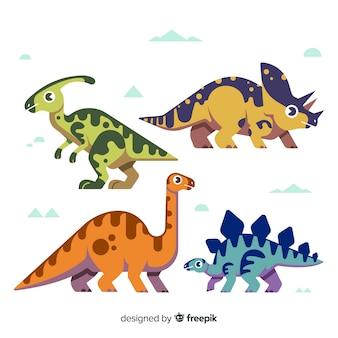 Collection de dinosaures plats