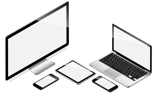 Collection de dispositifs électroniques modernes perspective isométrique