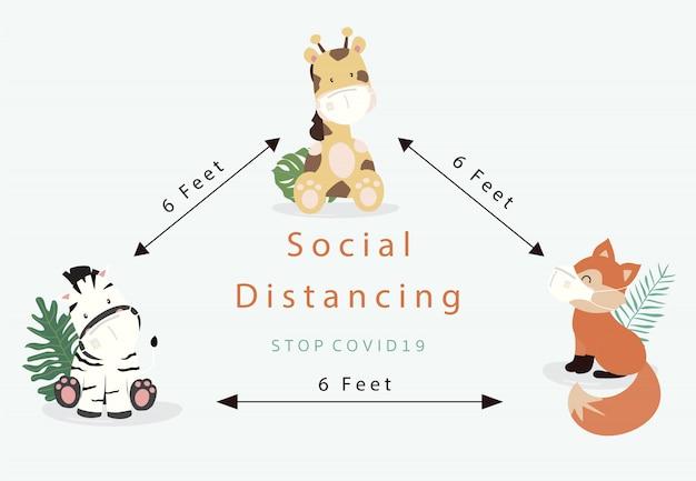 Collection de ditancing social animal mignon avec girafe, zèbre, renard porte un masque.