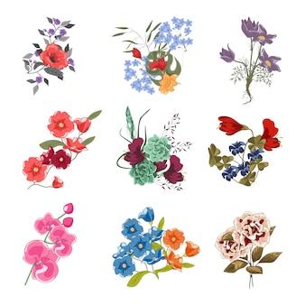 Collection de divers bouquets de fleurs