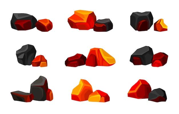 Collection de divers charbons chauds et froids