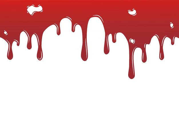 Collection de divers éclaboussures de sang ou de peinture, fond d'éclaboussures d'encre, isolé sur blanc.