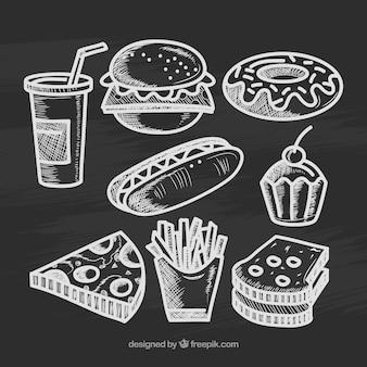 Collection de divers éléments de nourriture dans le style de craie
