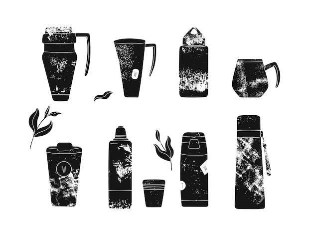 Collection de divers flacons à vide ou thermos et tasses thermiques pour boissons chaudes isolées sur blanc.