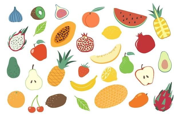 Collection de divers fruits colorés