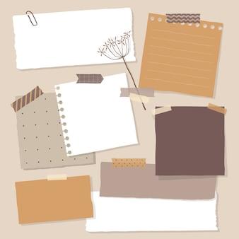 Collection de divers papiers de notes. pense-bête coloré.
