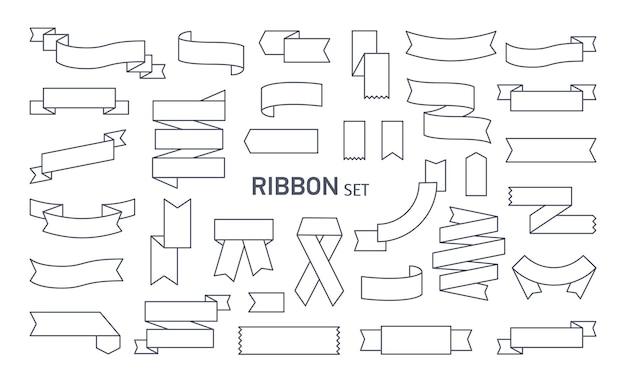 Collection de divers rubans dessinés avec des lignes de contour noires. paquet de rubans décoratifs, bandes ou bandes pliées de différentes manières et isolées sur fond blanc. illustration vectorielle monochrome.