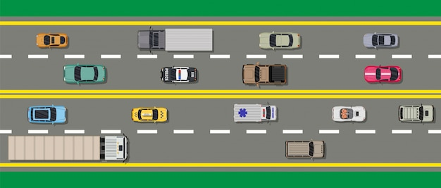 Collection de divers véhicules. route vue de dessus