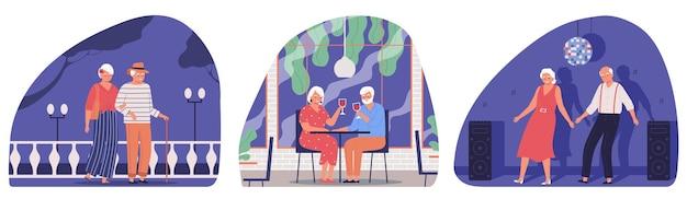 Collection de diverses activités de couple de personnes âgées